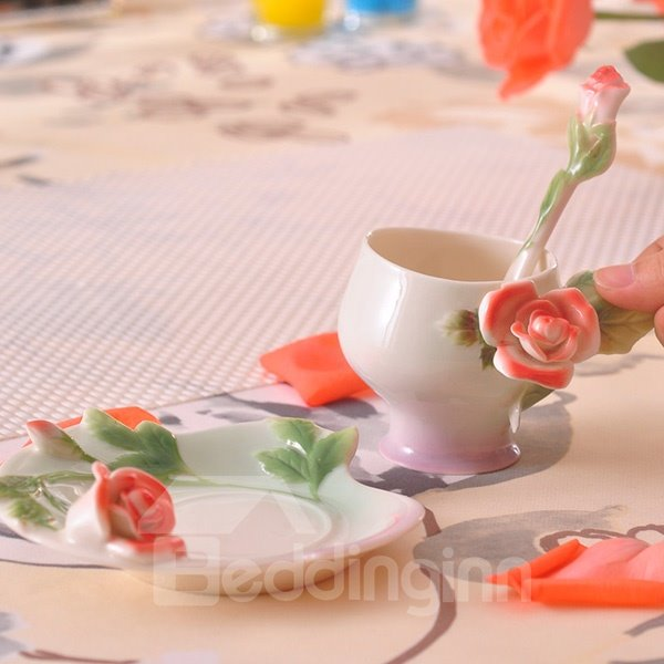 Romantic Ceramic 3D Roses Design Coffee Cup - beddinginn.com