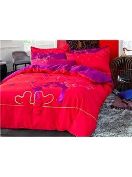Romantic Bright Red Cotton 4-Piece Duvet Cover Sets