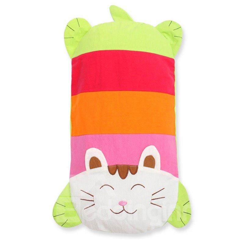 Cute Cat Shape Cotton Surface Buckwheat Hull Filling Baby Pillow
