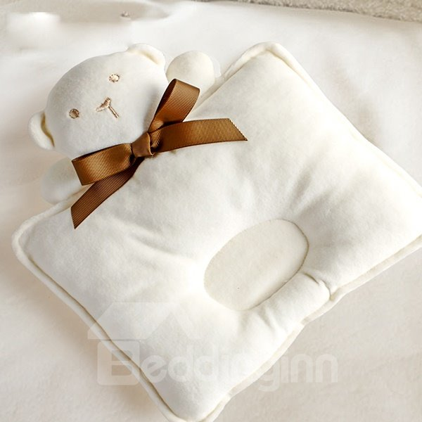 Rectangular Shape Bear Design Prevent Flat Head Baby Pillow
