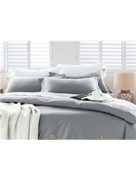 High Quality Gorgeous Grayish Cotton 4-Piece Duvet Cover Sets