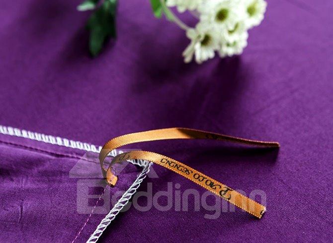 Super Soft and Comfortable Purple 100% Cotton 4-Piece Duvet Cover Sets