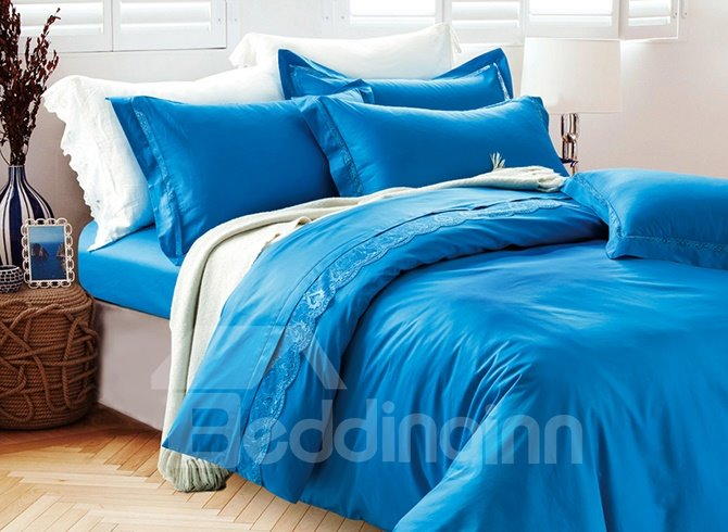 Deluxe Concise Style Lace-Trimmed Cotton 4-Piece Duvet Cover Sets