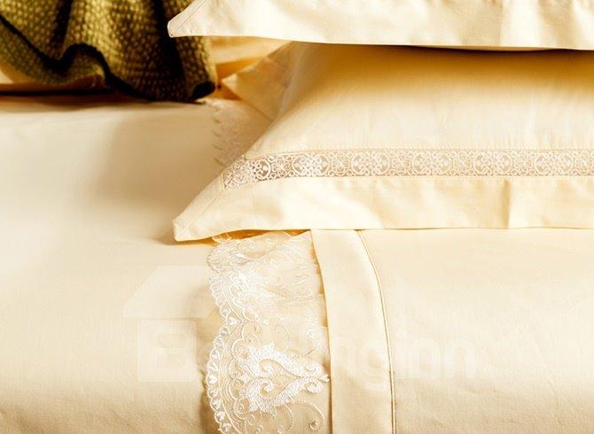 Classical Noble Lace-Trimmed Cotton 4-Piece Duvet Cover Sets