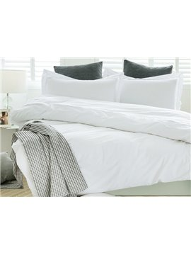 Classical Concise White Full Cotton 4-Piece Duvet Cover Sets