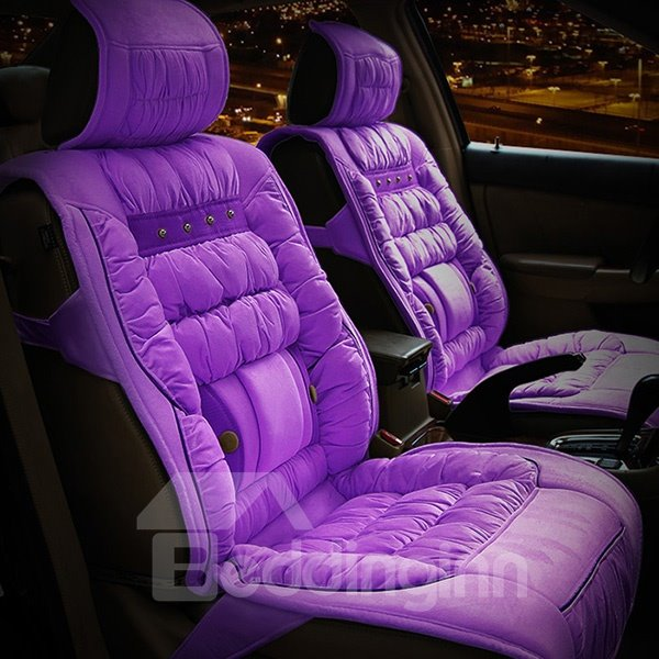 Comfortable Pure Colored Down Cotton Five Seats Car Seat Covers