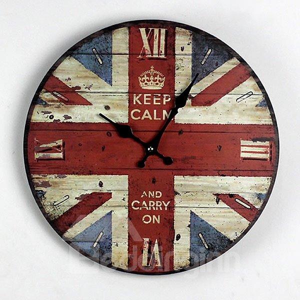 Round British Style Union Jack Pattern Painting Wall Clock