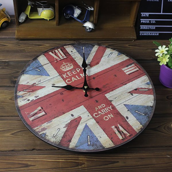 Round British Style Union Jack Pattern Painting Wall Clock