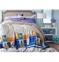 Artistic Trees and Birds Embroidery Cotton 4-Piece Duvet Cover Sets