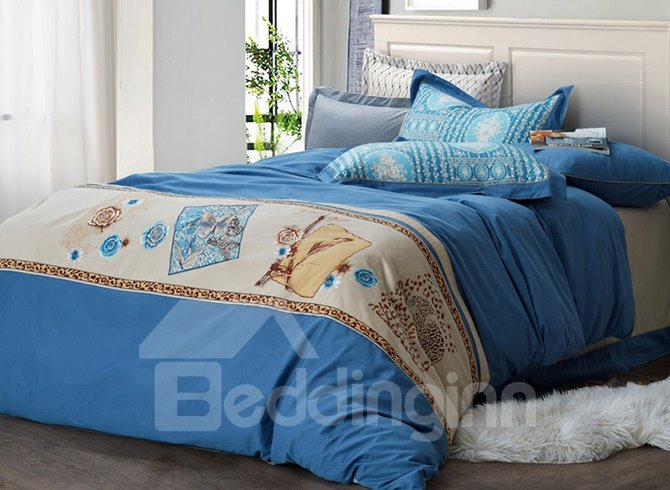 Charming Butterfly and Flower Pattern Embroidery Cotton 4-Piece Duvet Cover Sets