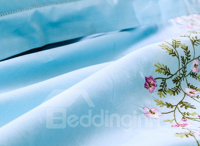 Gracious Flowers Embroidery Sky-blue Cotton 4-Piece Duvet Cover Sets
