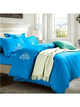 Graceful Classic Style Embroidery Cotton 4-Piece Duvet Cover Sets