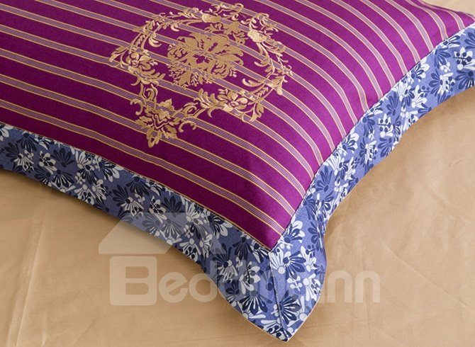 High Class Lush Flowers Embroidery Cotton 4-Piece Duvet Cover Sets