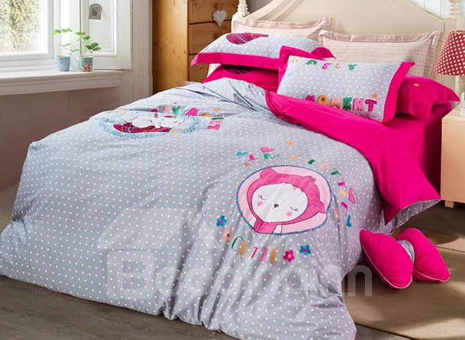 Chic Cartoon Kitty Embroidery Cotton 4-Piece Duvet Cover Sets 11669232