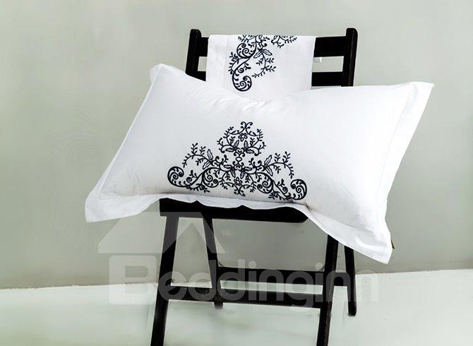 100% Cotton Fancy Embroidery White 4-Piece Duvet Cover Sets