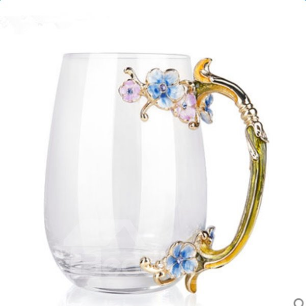 Beautiful Creative Handmade Enamels Flower Glasses 1 PieceTea Cup