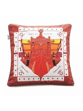 Original Sailing Ship Paint Red Throw Pillow