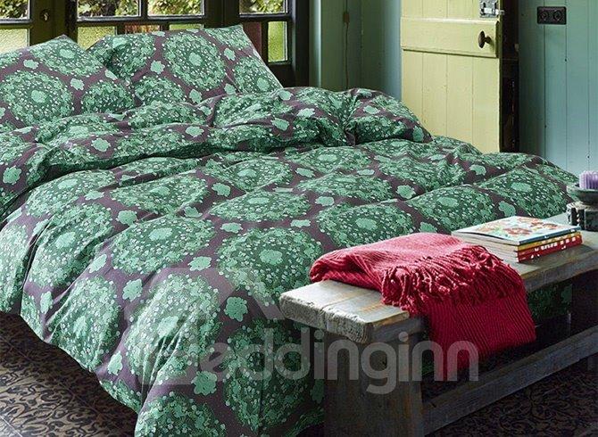 Romantic Pastoral Style Green Cotton 4-Piece Duvet Cover Sets