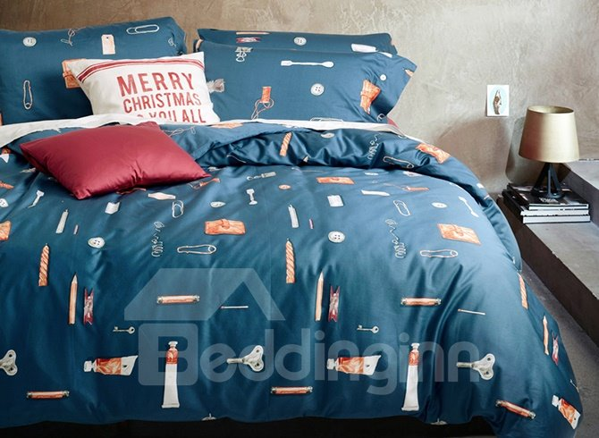 Noble Concise Style Dark Blue Cotton 4-Piece Duvet Cover Sets