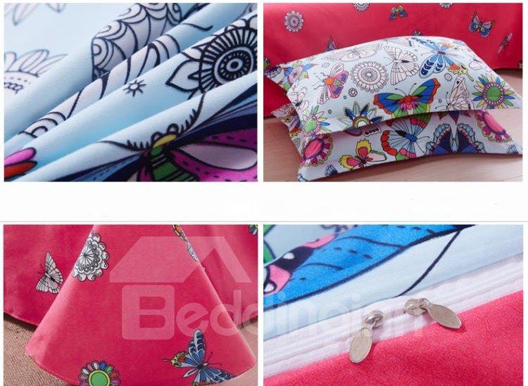 Charming Colorful Butterflies Cotton 4-Piece Duvet Cover Sets
