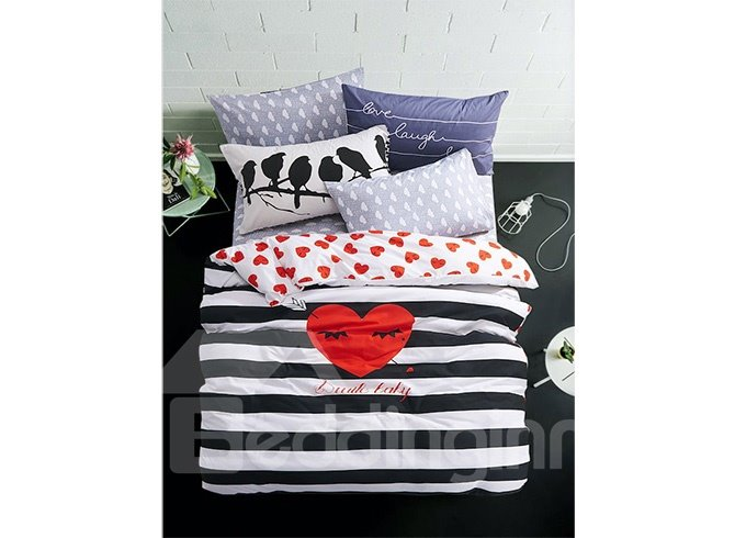 Cartoon Love Heart Black White Striped Prints Cotton 4-Piece Duvet Cover Sets