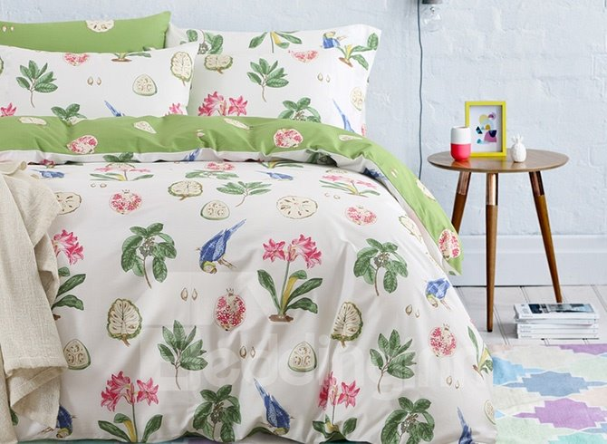 Elegant Rural Style Print Cotton 4-Piece Duvet Cover Sets