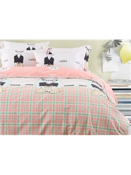 Cool Cartoon Miss Rabbit and Plaid Design Cotton 4-Piece Duvet Cover Sets