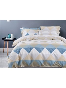 Stylish Triangle Pattern Cotton 4-Piece Duvet Cover Sets
