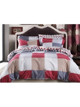 Noble Modern Plaid Cotton 4-Piece Duvet Cover Sets