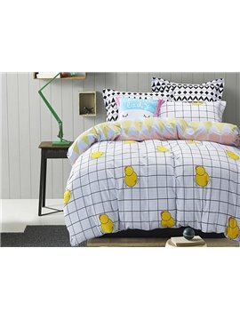 Lovely Cartoon Yellow Duck Reactive Printed Cotton 4-Piece Duvet Cover Sets