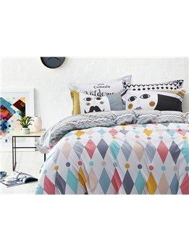 Magnificent Argyle and Polka Dot Print 100% Cotton 4-Piece Duvet Cover Sets
