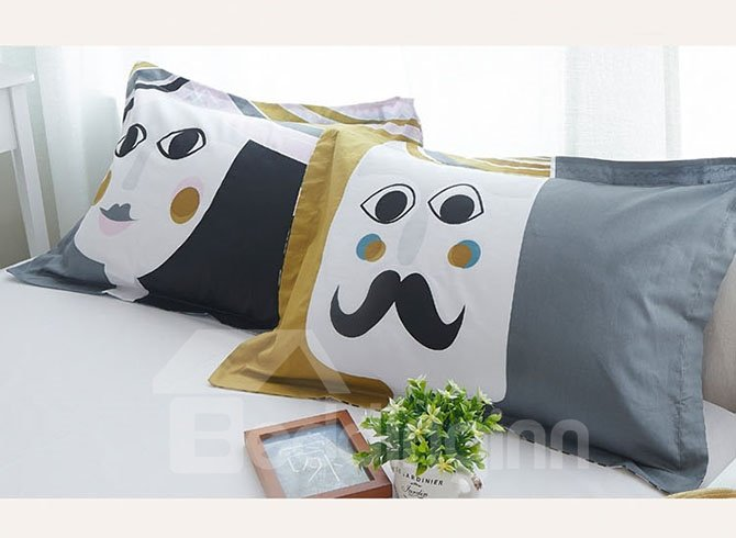 Fantastic Colorful Houses Pattern Cotton 4-Piece Duvet Cover Sets