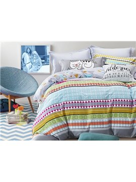 Elegant Colorful Stripe Pure Cotton 4-Piece Duvet Cover Sets