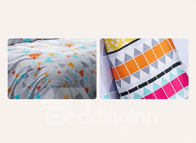 Unique Triangle Pattern Modern Concise Style Cotton 4-Piece Duvet Cover Sets