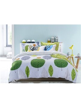 Cozy Color Tree Cotton 4-Piece Duvet Cover Sets
