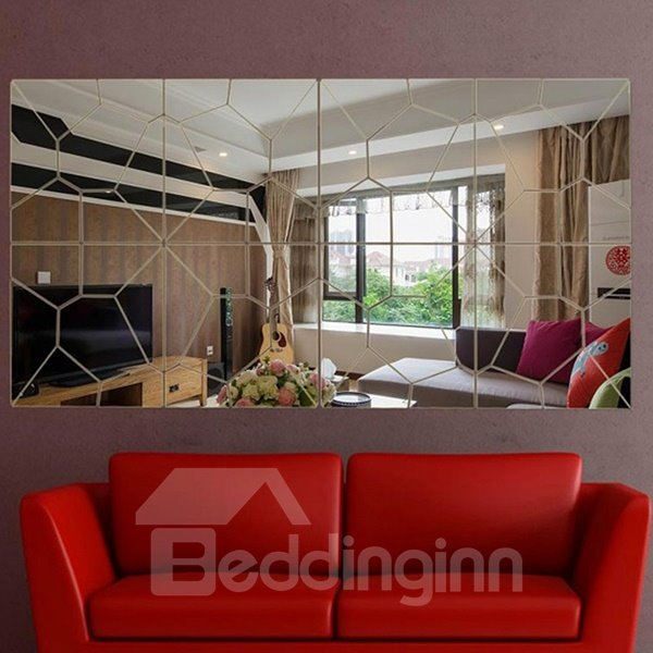 Wonderful Sexy Red Lips Design Removable Mirror 3D Wall Sticker