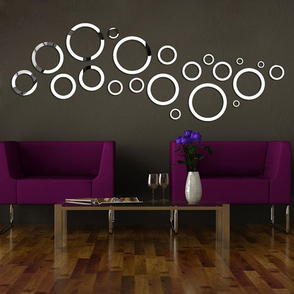 Awesome Circles Design Removable Mirror 3D Wall Sticker