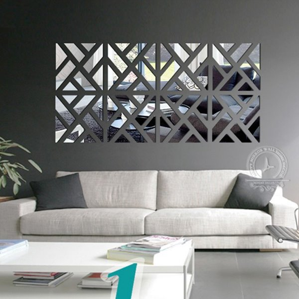 Unique Geometric Pattern Removable Mirror 3D Wall Sticker 1 Set (4 Pieces)