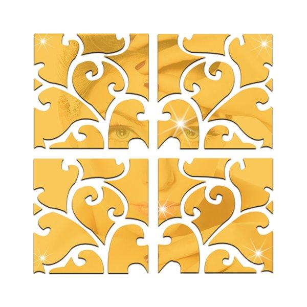 Unique Floral Pattern Removable Mirror 3D Wall Sticker 1 Set (32 Pieces)