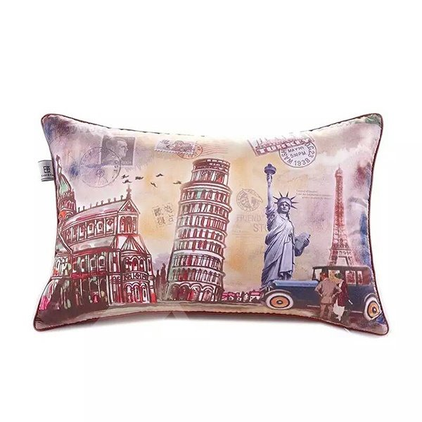 Famous Landmark of Europe and America Throw Pillow