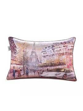French Scenery Paint Throw Pillow