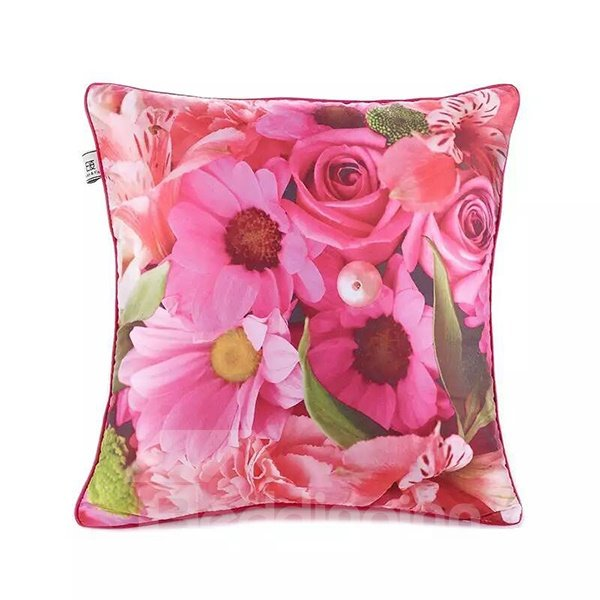 Multifarious Pink Flowers Paint Throw Pillow