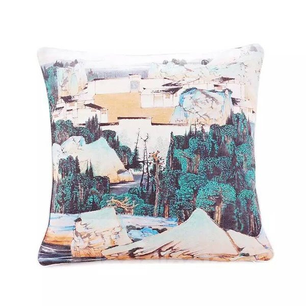 Traditional Chinese Painting Paint Throw Pillow