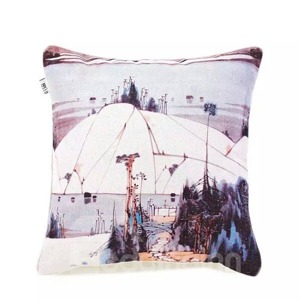 Chinese Monochromes Paint Throw Pillow