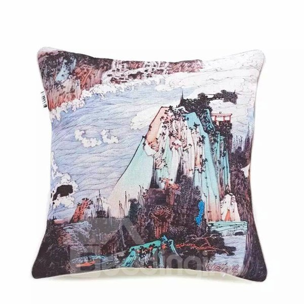 Chinese Landscape Painting Paint Throw Pillow