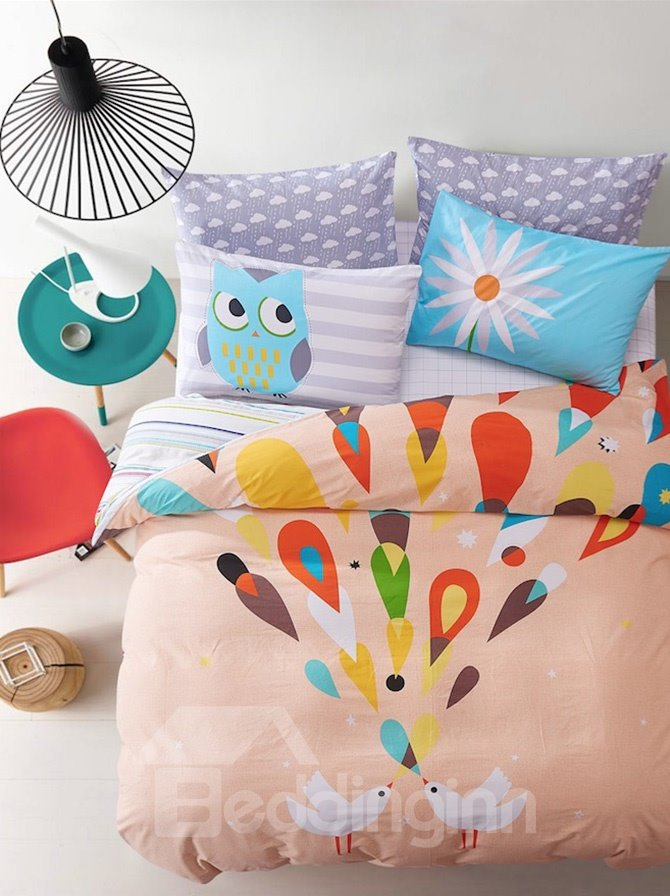 Colorful Dream Cute Owl Print Kids Cotton 4-Piece Duvet Cover Sets