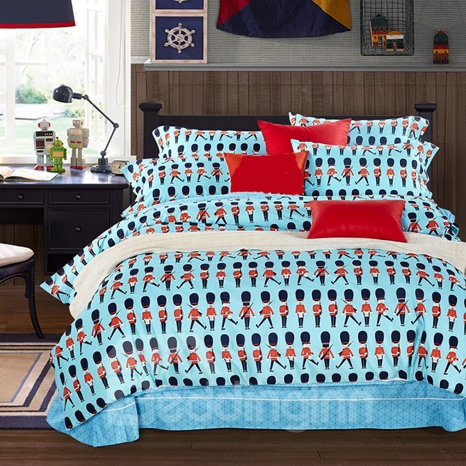 Wonderful Magic Soldier Kids Cotton 4-Piece Duvet Cover Sets