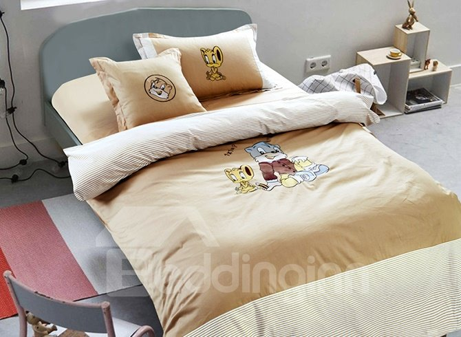 Blue Cat and Naughty Mouse Print Kids 100% Cotton Duvet Cover Sets