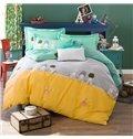 High Quality Simple Style Print Kids 100% Cotton 4-Piece Duvet Cover Sets