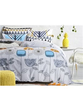 Growing Freely Plants Pattern Kids Cotton 4-Piece Duvet Cover Sets